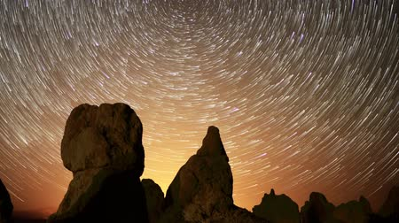 trona : Astrophotography time lapse footage with pan left  motion of star trails over monolithic formations in Trona Pinnacles