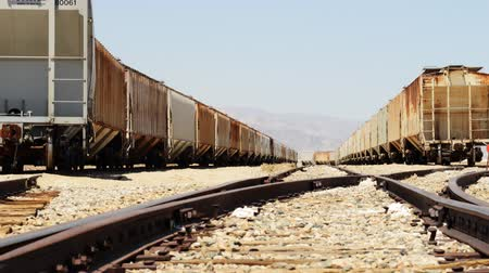 trona : Motion controlled dolly time lapse with dolly left motion of railroad track in Trona Stock Footage