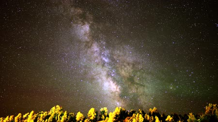 alpes : Astrophotography time lapse footage with tilt down motion of milky way galaxy over alpine forest in Utah Stock Footage