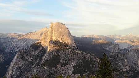 nevada : Time lapse footage with zoom out motion of half dome at sunset afterglow in Yosemite National Park