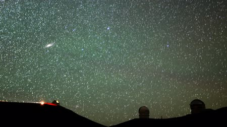 Astrophotography time lapse with pan left motion of stars over Mauna Kea Observatories in Hawaii