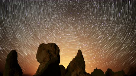 trona : 4K Astrophotography time lapse footage with pan right  motion of star trails over monolithic formations in Trona Pinnacles Stock Footage
