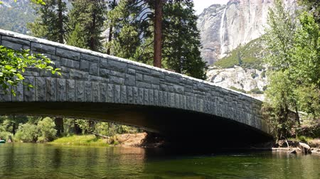 alpy : 4K Time lapse footage with zoom out motion of people rafting under the bridge across Merced River in Yosemite National Park