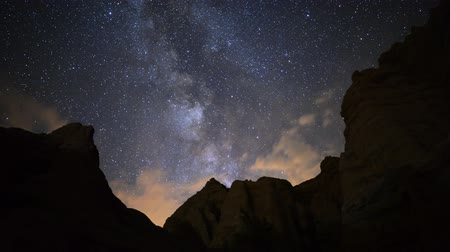 astroloji : Motion Controlled Dolly Time Lapse of Milky Way over Desert Rocks