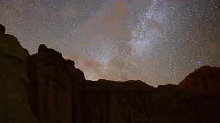 Motion Control Dolly Astro Time Lapse of Milky Way over Sandstone -Zoom In-