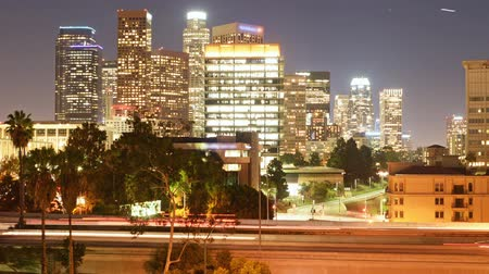 fari : Time Lapse di Los Angeles Skyline su Freeway Bridge at Night -Zoom Pan Left-