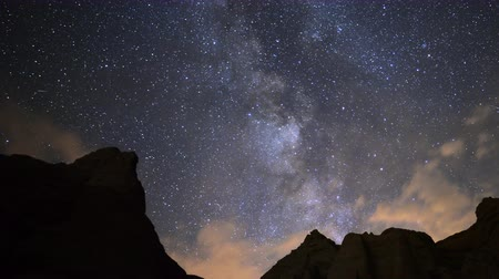 alpes : 4K Motion Controlled Dolly Time Lapse of Milky Way over Desert Rocks -Zoom Out-