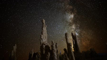 perseids : Astrophotography Time Lapse of Milkyway  Tufa Formation in Mono Lake Tilt Down Stock Footage