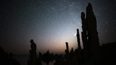perseids : Astrophotography Time Lapse Night Sky  Tufa Formation in Mono Lake Tilt Down