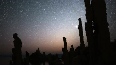 perseids : Astrophotography Time Lapse of Night Sky  Tufa Formation in Mono Lake Pan Down Stock Footage
