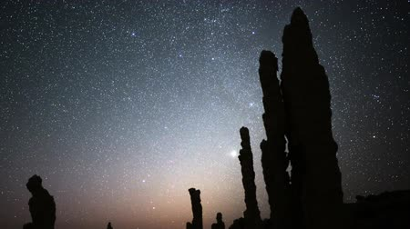 perseids : Astrophotography Time Lapse of Night Sky  Tufa Formation in Mono Lake Zoom Out