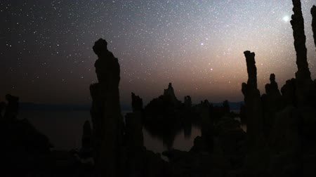 perseids : Astrophotography Time Lapse Night Sky  Tufa Formation in Mono Lake Pan Right Stock Footage