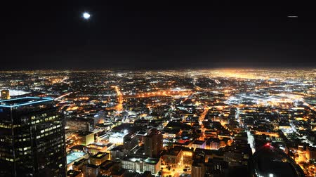 komerční : Downtown LA Night Cityscape Time Lapse Moon Rise Tilt Up