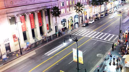 tiyatro : Hollywood Night Time Lapse The Boulevard Pan Stok Video