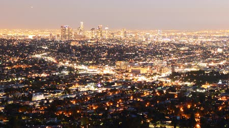 ügy : Downtown Los Angeles Skyline Twilight Time Lapse