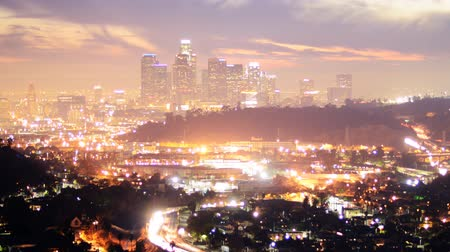 fari : Downtown Los Angeles Skyline di Twilight Time lapse Zoom Out