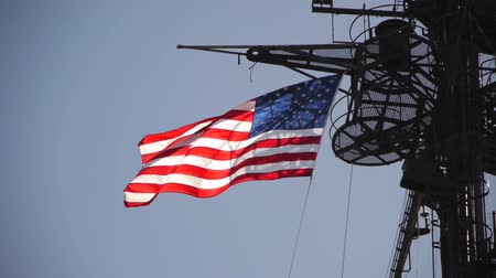 donanma : USS Midway Museum National Flag Stok Video