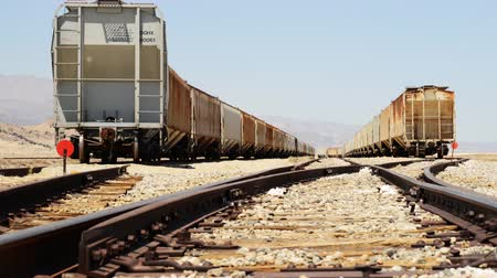 trona : 4K motion controlled dolly time lapse with dolly left motion of railroad track in Trona California Stock Footage