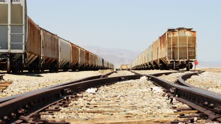 trona : 4K motion controlled dolly time lapse with dolly left and zoom out motion of railroad track in Trona California