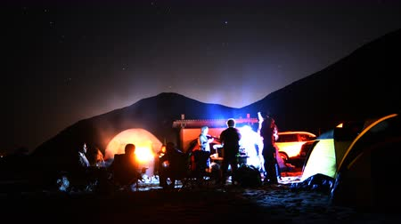 sinema : 4K time lapse footage with zoom out motion of campers enjoying company at night on the Beach in Malibu California