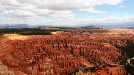 sinema : 4K Time lapse footage with pan right motion of panoramic view at Inspiration point in Bryce Canyon National Park Utah