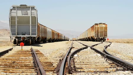 trona : Motion Control Dolly Shot of Desert Railroad Track and Old Train Dolly In