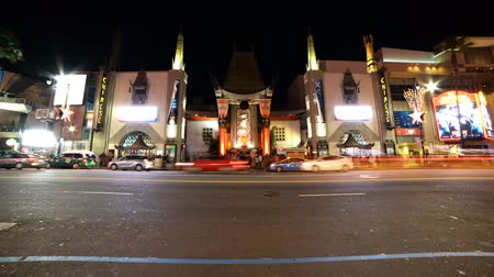 tiyatro : Time Lapse of Chinese Theater in Hollywood at Night Tilt Up
