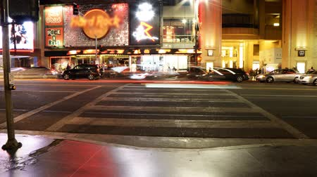 crosswalk : Time Lapse of Busy Crosswalk on Hollywood Blvd. at Night Zoom Out Stock Footage