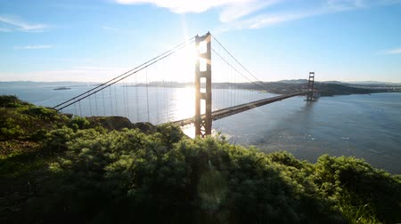 bay bridge : Motion Controlled Dolly Shot of Golden Gate Bridge in the Morning Up Right