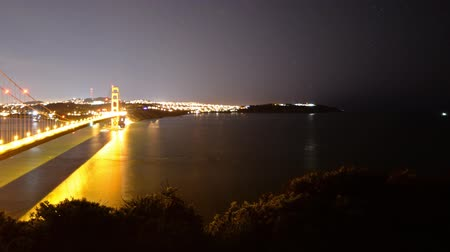 baía : Motion Control DollyPan Time Lapse of Golden Gate Bridge Night to Day Pan Left Vídeos