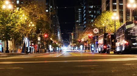 baía : Time Lapse of Market Street at Night in San Francisco Zoom In Vídeos