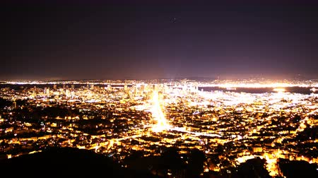 baía : 4K Time Lapse of San Francisco Bay Area Cityscape Night to Day Pan Right Vídeos