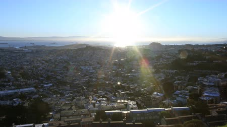 sinema : 4K Motion Control Pan Time Lapse of Sunrise over Bay Area Cityscape Pan Right