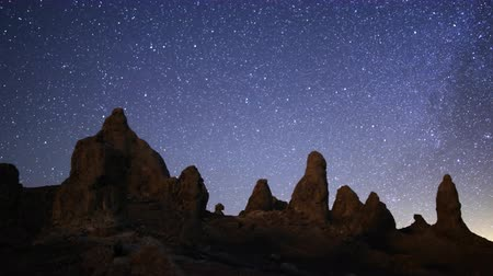 sinema : 4K 3 Axis Motion Control Astro Time Lapse of Milky Way  Pinnacles Tilt Down Stok Video