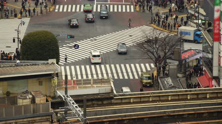 japonya : Time lapse footage with tilt up motion of the famous Shibuya crosswalk in the daytime in Tokyo, Japan Stok Video
