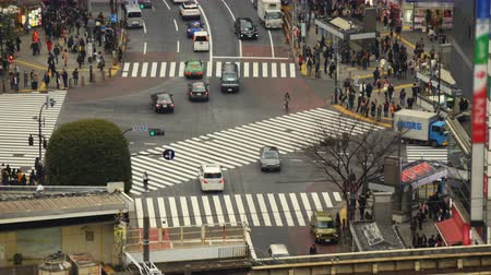 crosswalk : Time lapse footage with tilt down motion of the famous Shibuya crosswalk in the daytime in Tokyo, Japan