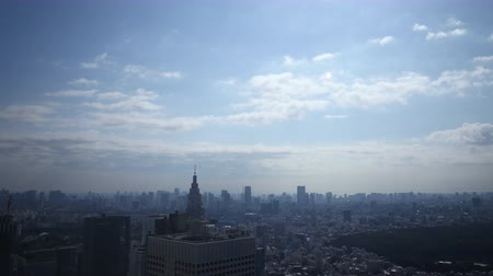 crowded : Time lapse footage with zoom in motion of daytime cloudscape over metropolitan cityscape shot atop Tochou Capitol Government Building in Shinjuku, Tokyo, Japan