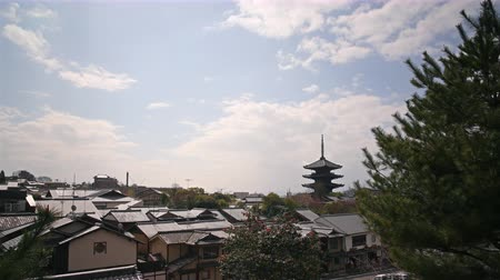 kyoto : Time lapse footage of Yasaka Tower, a historic 5-Story Pagoda at Houkanji Temple in Kyoto, Japan Stock Footage