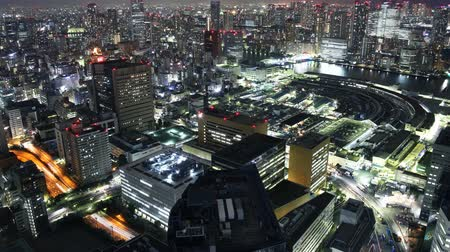 tsukiji : Time lapse footage with tilt up motion of Tsukiji Fish Market district at night in Tokyo, Japan