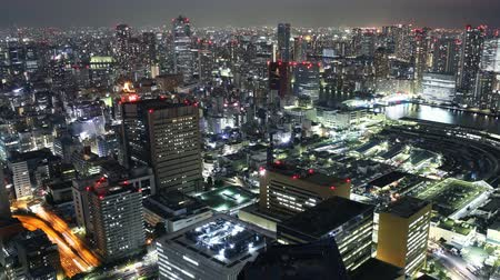 tsukiji : Time lapse footage with pan right motion of Tsukiji Fish Market district at night in Tokyo, Japan