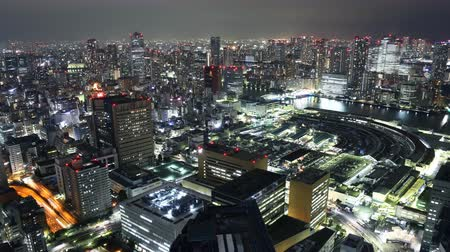 tsukiji : Time lapse footage with tilt down motion of Tsukiji Fish Market district at night in Tokyo, Japan Stock Footage