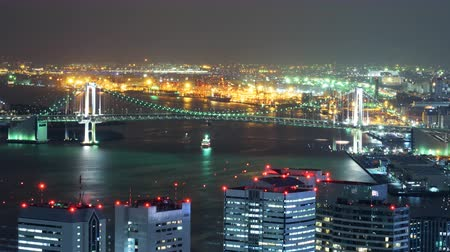 turné : Time lapse footage of waterfront cityscape at night in Tokyo, Japan -Long Shot- Stock mozgókép