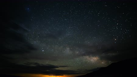 astroloji : Astrophotography time lapse footage with zoom in motion of Milky Way galaxy rising over desert landscape in Death Valley National Park, California