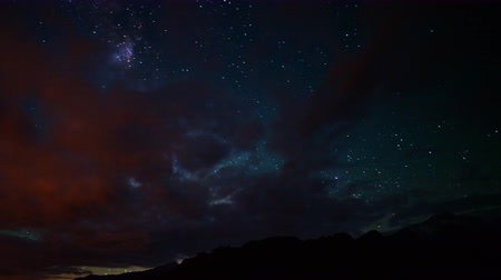 alabama : Astrophotography time lapse footage with pan left motion of Milky Way galaxy shining through overcast sky in Alabama Hills, California