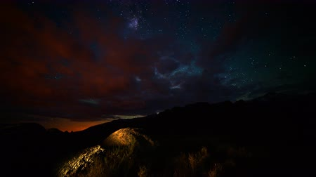 alabama : Astrophotography time lapse footage of Milky Way galaxy shining through overcast sky in Alabama Hills, California Stock Footage