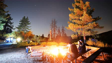 ormanda yaşayan : Time lapse footage with zoom in motion of a group of campers surrounding bonfire in alpine mountain in Angels National Forest, California Stok Video