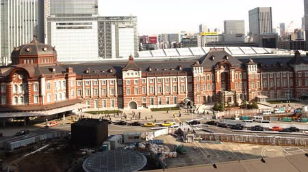 4K Motion controlled pan left time lapse footage of historic Tokyo Station during the daytime in Japan -close up-