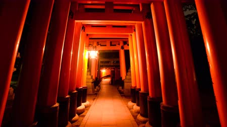 4K POV hyperlapse footage through Shinto Torii gates at Fushimi Inari Shrine at night in Kyoto, Japan