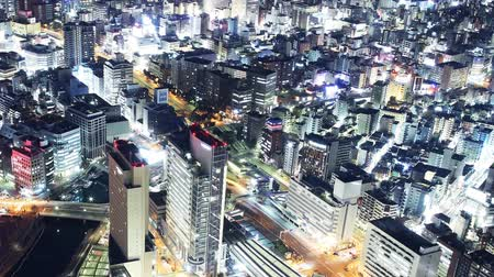 Time lapse footage of metropolitan cityscape shot from Yokohama Landmark Tower in Japan -close up 2-