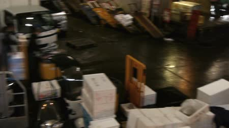 Footage of Tsukiji Fish Market district in Tokyo, Japan -panoramic tracking long shot-
